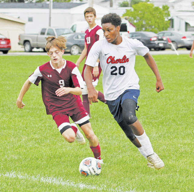 Syncere Shahid makes a move in Patriot Athletic Conference soccer action versus the Wellington Dukes.