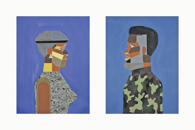 """""""Woman in Optimum Blue and Man in Tidal Blue"""" by American artist Derrick Adams is on display at the Allen Memorial Art Museum at Oberlin College as part of the exhibit """"Radically Ordinary: Scenes from Black Life in America Since 1968."""""""
