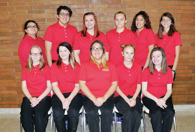 Executive officers of the over 100-member Four County Career Center Family, Career, and Community Leaders of America (FCCLA) chapter include - front, from left - Kayla Swank of Fairview, KayLyne Rittenhouse of Hicksville, Maria Vera-Garza of Archbold, Jazalyn Ackerman of Holgate, Taryn Schroeder of Napoleon - back, from left - Kylee McMahan of Napoleon, Ricardo Flores of Delta, Hailey Shackelford of Fairview, Cierra Downey of Hicksville, Alexandra Azua of Archbold, and Bailey Bowen of Edgerton. Among the chapter projects this year are: fund raising and assisting with local community projects; participation in regional, state, and national FCCLA leadership and skill competitions; and sponsorship of student assemblies. Membership in the organization is limited to family and consumer science students. Advisors include Michele Nafziger, Susan Myers, Lisa Hall, Peter Herold, and Doug Tyas.