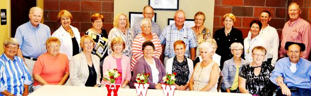 The Wauseon High School Class of 1962 gathered at Sullivan's Restaurant on Sept. 1 to reminisce and celebrate. Picture are - standing, from left - Joe McGlamery, Diane Imes Shull, Ilene Richer Nofziger, Barbara Nofzinger Phares, Ralph Badenhop, Sandi Duquette Hovis, Larry Warncke, Janice Secondcost Noe, Beverly Lind Yocum, Karen Wyse Fraker, Tim Decker, Paul ZumFelde - and seated, from left-Vickie Gasche Lannie, Laura Parker Hayes, Neva Jacobs Warncke, Beverly Hite McGlamery, Karen Nafziger Rupp, Michelle Newcomb Loukotka, Barbara Panebaker Sibson, Nancy Hoffman Beaverson, Beverly Gorsuch Klopfenstein, Linda Andrews Armstrong, David Armstrong.