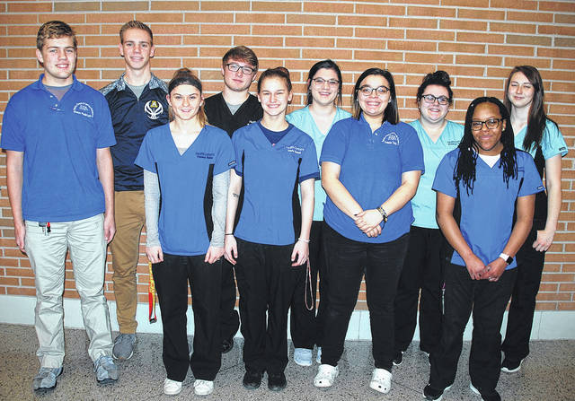 Thirty-three Four County Career Center Health Occupations Students of America (HOSA) Chapter members have qualified for State HOSA Skill competition in Columbus on April 10 and 11 by placing in the top five in the regional contests. Contest winners from Fulton County are, from left, front: Shawn Pedersen (Delta) CPR & First Aid Team; Hanna Rabe (Archbold) Biomedical Debate Team; Kayla Dusek (Archbold) Forensic Medicine Team; Tressa Taylor (Archbold) CPR & First Aid Team; Ragan Jessing (Delta) Biomedical Laboratory Science; and back: Caleb Wooley (Archbold) Sports Medicine; Gibson Burkholder (Archbold) Creative Problem Solving Team; Myah Wagner (Archbold) Nursing Assistant; Brooklyn Smith (Wauseon) Pathophysiology Knowledge Test; and Sara Greek (Archbold) Nutrition Knowledge Test. HOSA members from all parts of Ohio will be in Columbus to compete for awards and the right to advance to national skill and leadership contests. HOSA Advisors are Donna Badenhop, Robin Hill, Karen Walker and Mike Nye. Absent from the photo are Trinity Allen (Archbold) behavior Health Knowledge Test; and Elisabeth Posey (Delta) Human Growth and Development Knowledge Test.