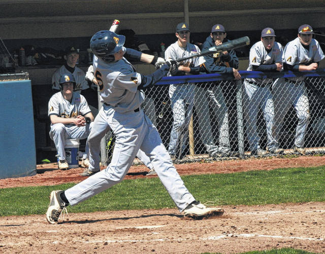 Archbold's Bryce Williams singles in a game last season. Williams made first team All-NWOAL for the Bluestreaks in 2017.