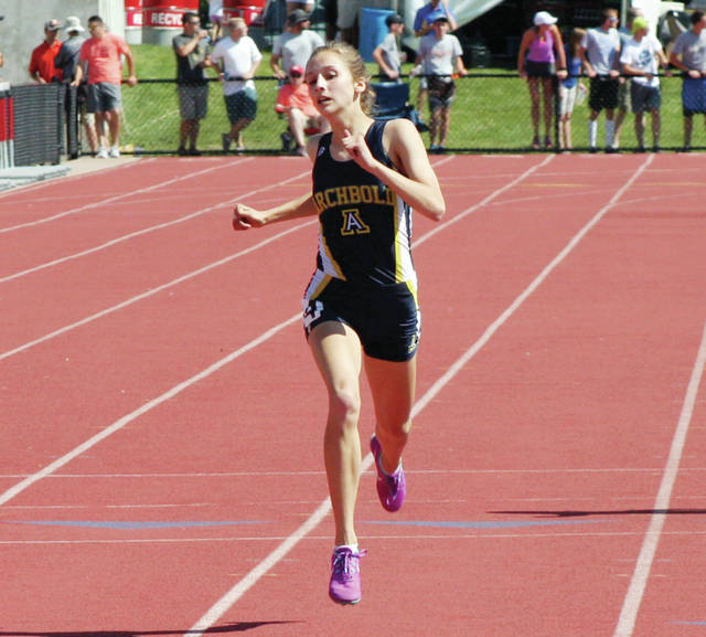 Dakota Stamm of Archbold races to the finish in the girls 400 meter dash at the state meet last season. She was runner-up in that event.