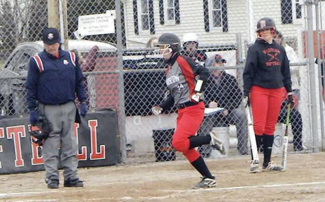 Christina Norman of Wauseon about to cross the plate for a run Monday versus Swanton in NWOAL play. The Indians defeated the Bulldogs 12-0 in five innings.