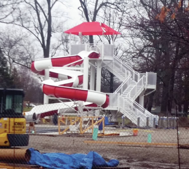 An elaborate slide was recently installed as work continues on the new Wauseon pool. Construction should increase as the weather gets warmer. The pool is scheduled to open on Memorial Day.