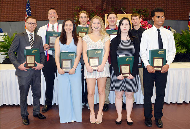 Students receiving awards from Fulton County included - front, from left - Nibel Welch-Rose of Archbold, Aylin Rosillo of Pettisville, Taylor Leahy of Pettisville, Bailee Kieffer of Fayette, Isaac Sauder of Pettisville - back, from left - Brian Ball of Archbold, Andrew Canada of Pettisville, Andrew Louy of Evergreen, and Mason Clark of Fayette.