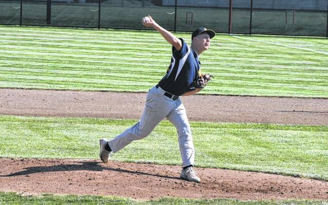 Archbold pitcher Brandon Miller on the mound against Columbus Academy in the regional semifinal Thursday. He went 6 2/3 innings in the Bluestreaks' 4-3 loss.