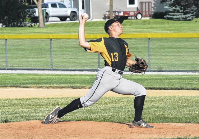 Pettisville pitcher Austin Horning got the win on the mound Thursday versus Swanton in ACME baseball. He allowed a run on four hits with five strikeouts as the Blackbirds took down the Bulldogs 11-1 in five innings.