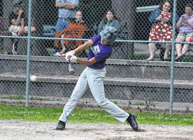 Sam Betz of Swanton garners a single in the bottom of the third inning Tuesday versus Liberty Center in ACME baseball. The Bulldogs fell to the Tigers, 9-7.