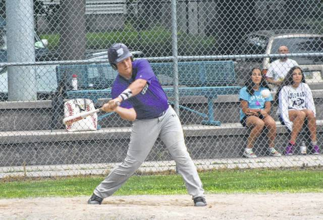 Swanton's Derek Floyd is about to unload on a ball for a two-run single in the bottom of the third inning Thursday against Delta in ACME baseball. The Bulldogs defeated the visiting Panthers 9-1.