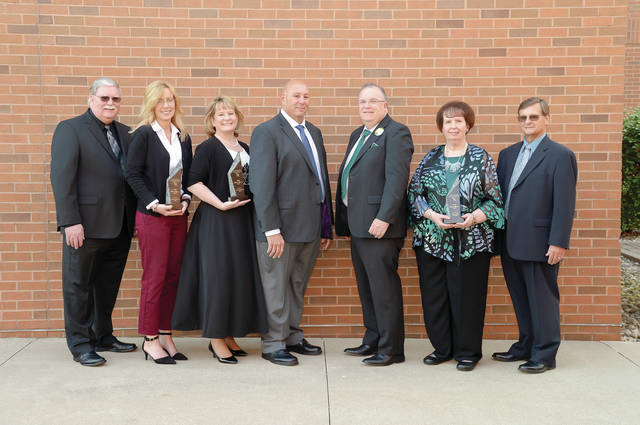 The 2018 Making a Difference Award recipients are shown with representatives from the left: Bill Priest and Shannon Zellers, Quadco Rehabilitation Center; Sally Taylor, Parkview Physicians Group; Peter Beck, NSCC Foundation Board chair; Dr. Michael Thomson, NSCC president; and Carol and Ed Nofziger.