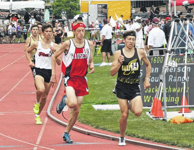 Kyle Vernot of Wauseon turns the corner in the 1600 meter run Saturday at the OHSAA State Track and Field Championships in Columbus. He would make the podium, finishing fifth with a time of 4:20.83.