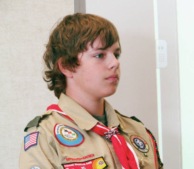 Life Scout Joshua Freestone of local Boy Scout Troop #8 posed a question to the Wauseon Board of Education during a meeting held Monday.