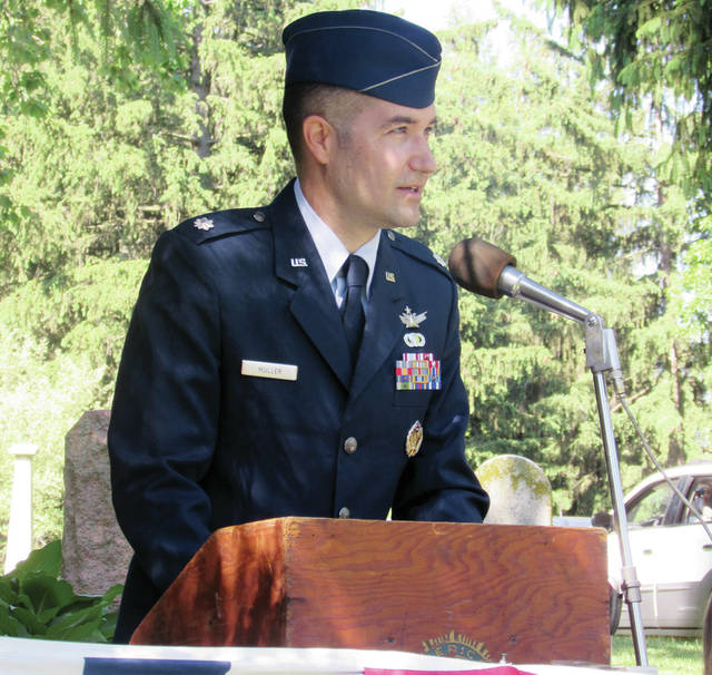 Lt. Col. Paul Muller challenged his Memorial Day audience to do what they can to honor those who have sacrificed their lives for American freedom.