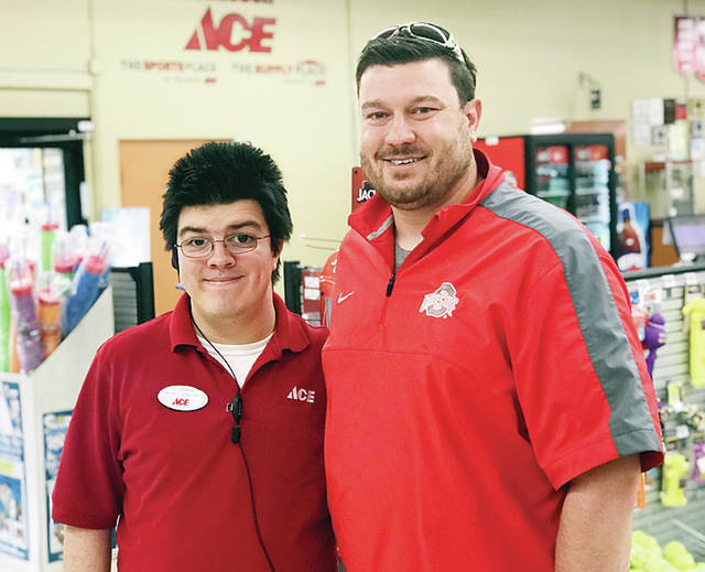 Lennon Tilse, left, of Autism Spectrum Disorder and an Ace Hardware employee, will co-emcee Spectrum Fest. Derek Friess the founder and organizer of the event, is at right.