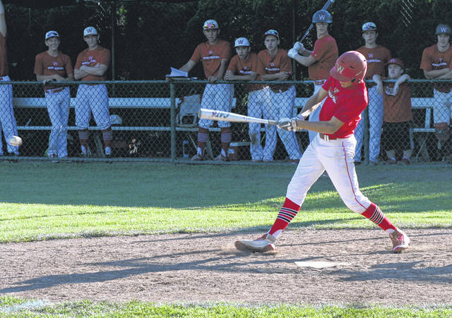Trent Armstrong of Wauseon drives in a run during a victory over Napoleon in the sectional tournament last week. The Indians have advanced to the district tournament where they will face Anthony Wayne tomorrow night.