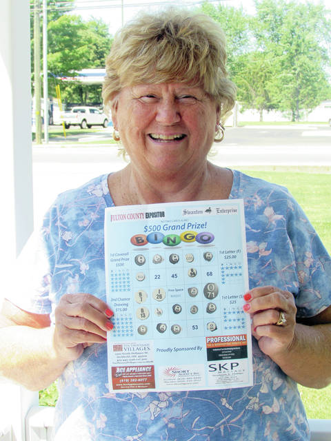 "Sharon Conrad of Swanton was a $25 winner in the Fulton County Expositor/Swanton Enterprise Bingo game. She won with the letter ""F."""