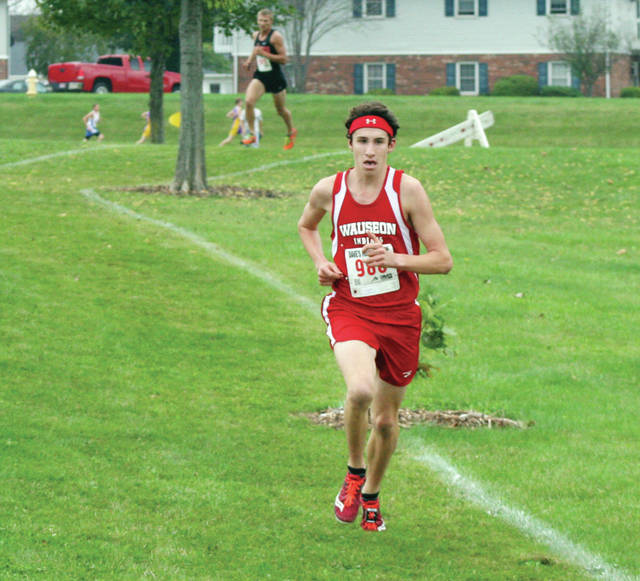 Wauseon's Michael Cheezan runs at the NWOAL Championships last fall. He is the most notable returnee for the Indians in 2018.