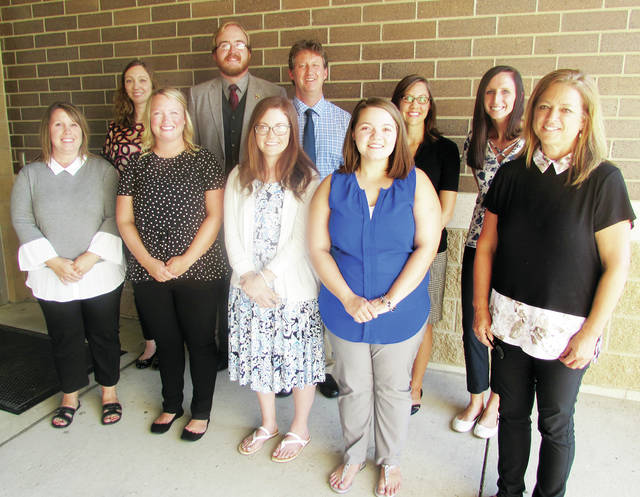 New staff members for Wauseon schools include: front, from left, Christine Garrett, cafeteria supervisor; Lauren Martinez, WMS math; Christina Dick, Speech/Language Pathologist; Shayla Hayes, WES/WMS Intervention; Joy Beck, WES Intervention – back, from left – Kaitlin Szozda, WMS Guidance; Jaz Bluhm, Assistant Band Director; Timothy McQuade, WEVS Psychologist; Sarah Burkholdr, WHS Intervention; Abbie Mathews, WES Intervention.