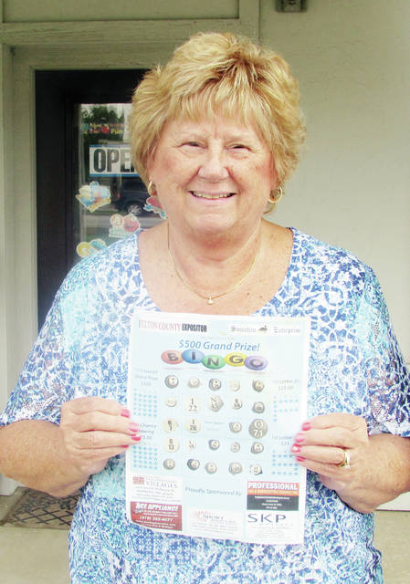 Sharon Conrad of Swanton won the grand prize in the Fulton County Expositor and Swanton Enterprise Bingo Contest. Conrad won several categories of the contest, and will be awarded a total of $550. Cynthia Schmid of Wauseon was the second place winner, and will receive $75.