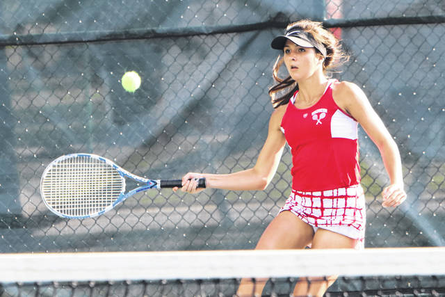Paige Smith of Wauseon returns a ball Thursday against Bryan in girls tennis. Her and partner Sierra Rupp fell in first doubles 6-3, 6-2 to Kate Grothaus and Sloane Brown.