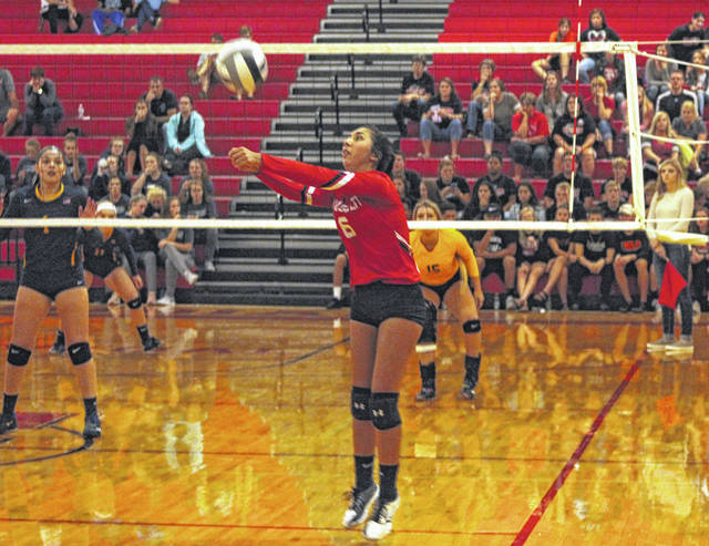 Maddie Trejo of Wauseon with a dig Tuesday versus Archbold in NWOAL play. The Indians bested the Bluestreaks in four games.