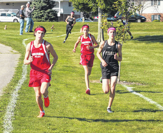 Michael Cheezan of Wauseon, far left, runs at a meet earlier this season. He placed 10th at the Tiffin Regional over the weekend to advance to state.