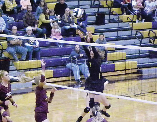 Danielle King of Pettisville (7) goes up for a block during a Division IV sectional final Thursday against Edgerton. The Blackbirds won in five sets to advance to the district tournament.