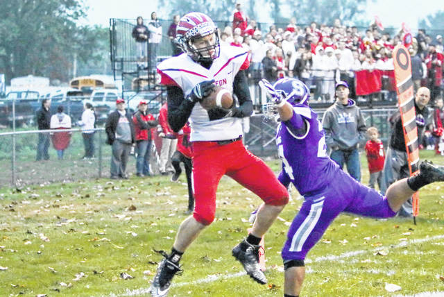 Connar Penrod of Wauseon with a touchdown reception Friday at Swanton. The Indians defeated the Bulldogs 35-20.
