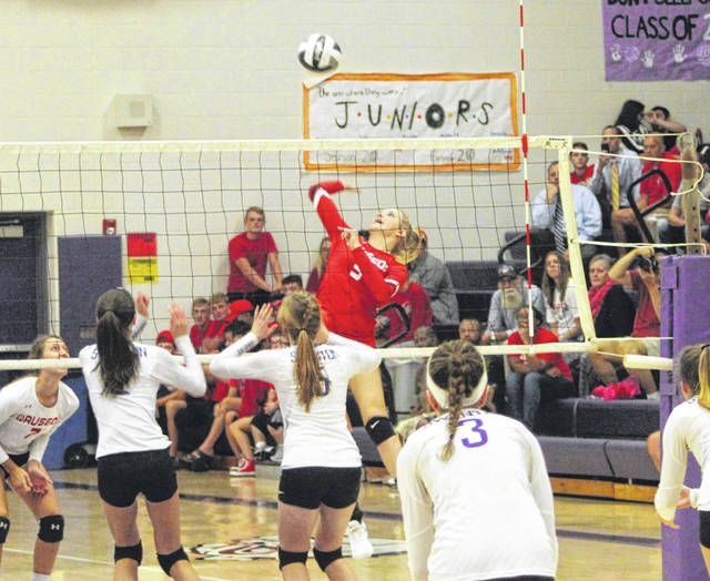 Chelsie Raabe of Wauseon with a shot from the left side during Tuesday's NWOAL match at Swanton. The Indians won in four sets to help them capture a share of the league title, their first since 1993.