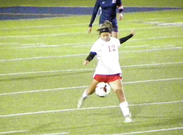 Ellie Rodriguez boots a ball upfield for Wauseon Monday at Lake in a Division II sectional semifinal. The Indians were eliminated with a 6-0 loss to the Flyers.