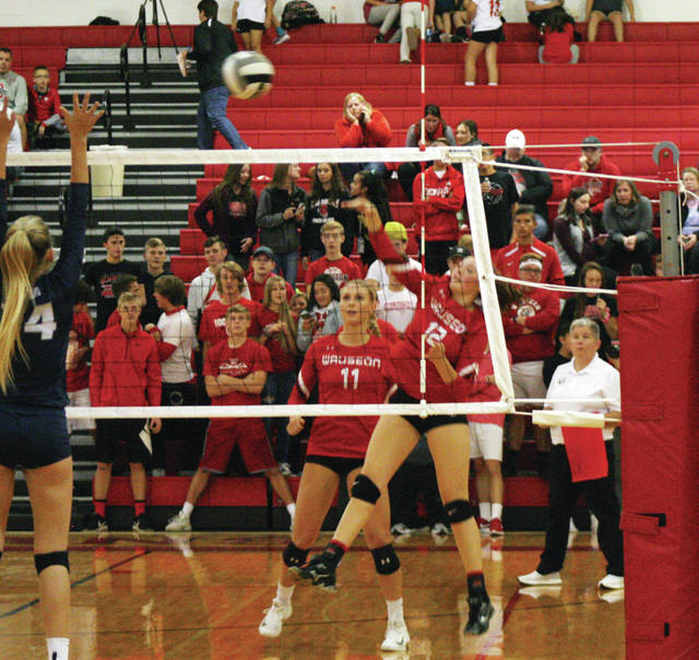 Sydney Zirkle of Wauseon hits one over from the left side Thursday at home versus Napoleon in a Division II sectional final. She recorded 16 kills as the Indians won in three sets.