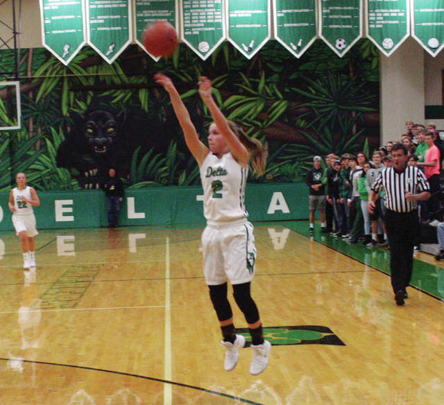Abby Freeman of Delta knocks down a three-pointer in a game last season. She returns for the Panthers following a very successful junior campaign.