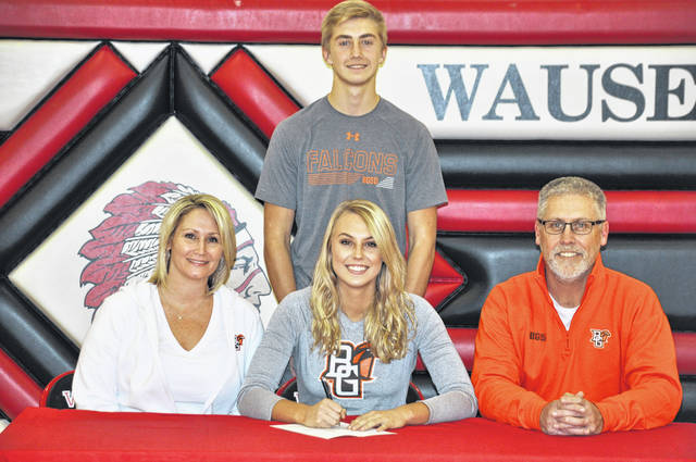 Lexi Sauber of Wauseon recently signed a letter of intent to continue her education and volleyball career at Bowling Green State University. Pictured, front row, from left, are Andrea Sauber (mother), Lexi, David Sauber (father). And, back row, Noah Sauber (brother).