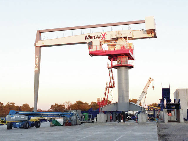 The massive E-Crane being installed at MetalX in Delta is 60 feet from the operator's seat and reaches over 100 feet.