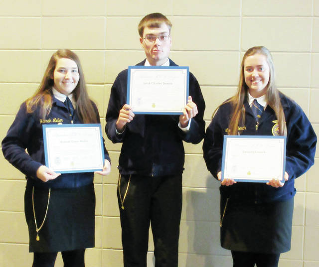 Three members of the Pettisville FFA chapter were selected to join an exclusive list of members to be awarded the American FFA Degree at the 91st National FFA Convention & Expo, held Oct. 24-27 in Indianapolis, Ind. Hannah Meller, daughter of Gene and Donna, Jacob Dennis, son of John and Susan, and Lynnsey Crouch, daughter of Jeremy and Kim, collected the gold American FFA Degree Key plus a certificate from the National FFA president. Hannah's Supervised Agriculture Experiences (SAE) included various animal projects, research projects, and job placement. Jacob also did research projects for part of his SAE, plus raised corn and soybeans and worked for the family farm. Lynnsey owns beef cattle, and works at several farm and ag business locations, including the home farm. Each year, the National FFA Organization honors the FFA members who show the utmost dedication to the organization through their desire to develop their potential for premier leadership, personal growth, and career success through agricultural education.