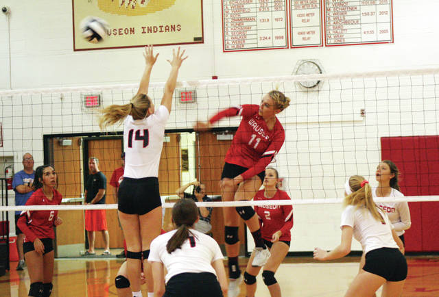 Wauseon's Lexi Sauber (11) with a kill in a league match this season. She was the District 7 Player of the Year for Division II.
