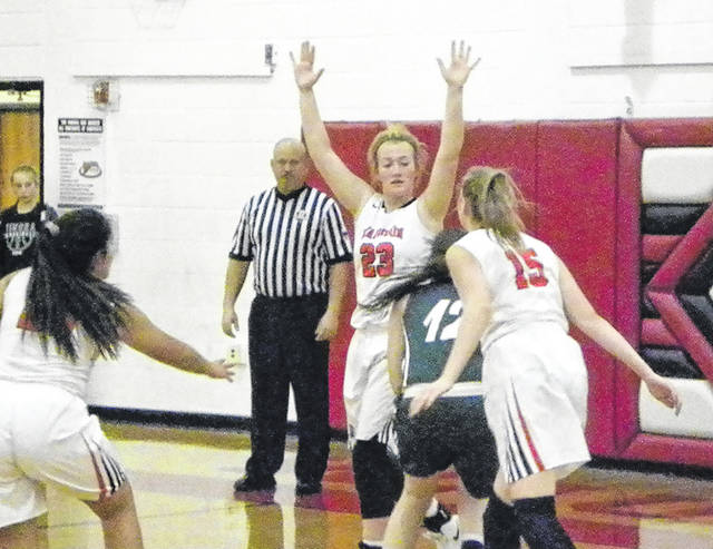 Wauseon's Macee Schang (23) defends in the lane during Saturday's game versus Tinora. The Indians fell to the Rams, 48-46.
