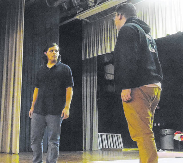"Noah Harman as Roderigo and Quintin Gigax as Iago sqaure off at a recently ""Othello"" rehearsal."