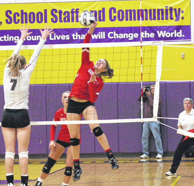 Wauseon's Sydney Zirkle hits one over the net for a kill Thursday versus Willard in a Division II regional semifinal at Lexington High School. The Indians were defeated by the Crimson Flashes 25-17, 25-14, 25-16 to end their season.