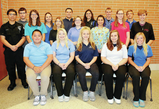Four County Career Center in Archbold has selected its student ambassadors for the current school year. The senior students are chosen based on their teacher's recommendations and leadership abilities. They represent the school in a variety of capacities including hosting future students, parents, area elected officials, and members of the community. The ambassadors are – front, from left – Andre Ramirez of Edgerton, Madisan Carpenter of Evergreen, McKenzie Reasor of Bryan, Hailey Shackelford of Fairview, Brookelyn Dye of Montpelier – middle, from left – Adam Rohrs of Tinora, Bailey Bowen of Edgerton, Kristina Minnich of Liberty Center, Summer Collins of Ayersville, Joslyn Tijerina of Archbold, Michelle Miller of Bryan, Alexis McCormick of Evergreen – back, from left – Dylan Anderson of Fayette, Emily Pippin of Liberty Center, Trenton Peluso of Evergreen, Mia Beltran of Delta, Eric Culler of Fairview, Vaughn Graber of Hicksville. Not pictured is Reese Knapp of Archbold.