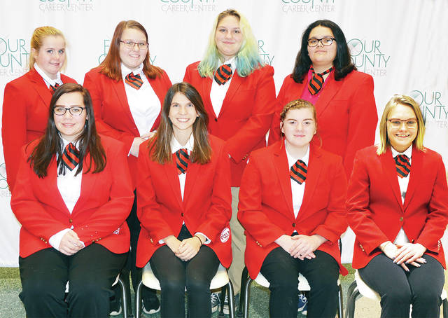 Executive officers of the over 100-member Four County Career Center Family, Career, and Community Leaders of America (FCCLA) chapter include – from, from left – Hailey Shackelford of Fairview, Bailey Bowen of Edgerton, Bobbie Jo Machnicki of Evergreen, Cierra Downey of Hicksville – back, from left – Savannah Corrao of Hicksville, Mindy O'Neill of Delta, Alexia Long of Hilltop, and Kylee McMahan of Napoleon. Chapter projects this year include fund raising and assisting with local community projects; participation in regional, state, and national FCCLA leadership and skill competitions; and sponsorship of student assemblies. Membership is limited to family and consumer science students. Advisors include Michele Nafziger, Susan Myers, Lisa Hall, Peter Herold, and Doug Tyas.