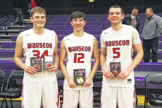 Sean Brock, Trent Armstrong and Levi Seiler were each named to the all-tournament team of the Derrow Chrysler Holiday Classic which wrapped up Friday at Defiance College. Armstrong, center, was the MVP of the tournament.