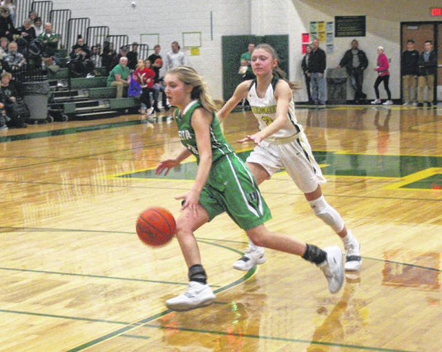 Braelyn Wymer of Delta looks to dribble out the clock near the end of the game Friday night at Evergreen. The Panthers held off the Vikings, 29-22.