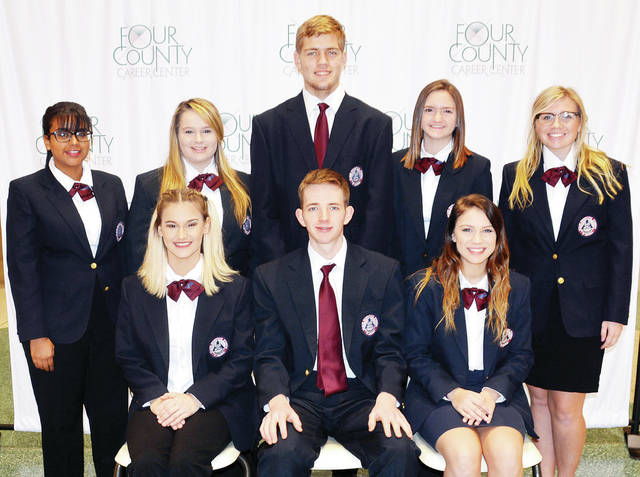 Four County Career Center in Archbold recently announced the officers and members of its HOSA - Future Health Professionals chapter. Members include over 90 Health Careers and Sports Fitness and Exercise Science students who work on chapter projects, compete in district, state, and national leadership and skill competitions, and sponsor student assemblies throughout the school year. Pictured are - front, from left - Kayla Dusek, Archbold, president; Kevin Myles, Napoleon, state vice president; Aliyssa McCormick, Edgerton, state reporter - back, from left - Paula Pickle of Napoleon, Hannah Gustwiller of Holgate, Shawn Pedersen of Delta, Sabryn Camp of Napoleon, and Brookelyn Dye of Montpelier. Advisors include Robin Hill, Karen Walker, Donna Badenhop, and Mike Nye.