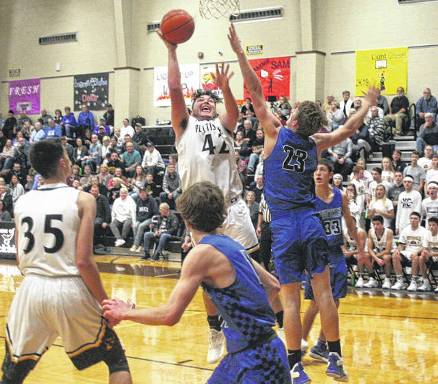 Graeme Jacoby of Pettisville with a bucket in the third quarter of Thursday's game against Stryker. He finished with 14 points, but the Blackbirds fell to the Panthers 59-52.
