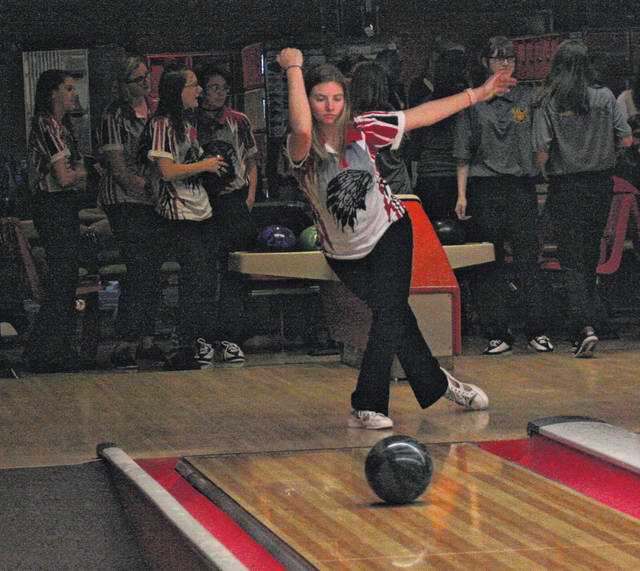 Wauseon's Mackayla Kearney warms up for the match versus Evergreen Friday. She led the Indians with a 314 series total.