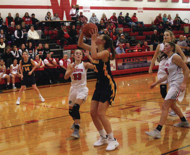 Lily Krieger of Archbold gets ahead of the defense for a bucket Friday at Wauseon in a non-league game. She finished with 19 points and 11 rebounds, leading the Blue Streaks to a 54-35 win.