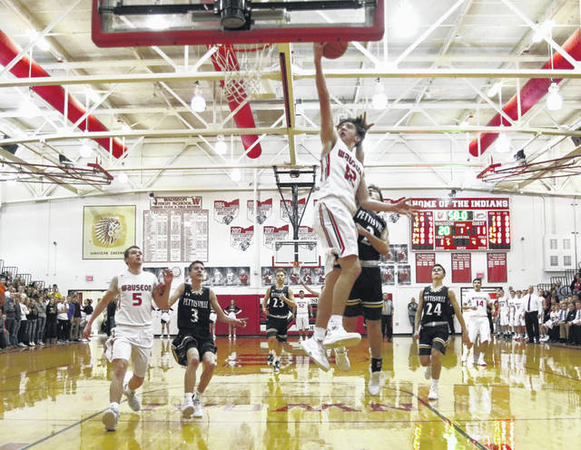Trent Armstrong lays one in for Wauseon during Monday's game against Pettisville. He finished with 25 points to help the Indians hold off the Blackbirds, 64-56.