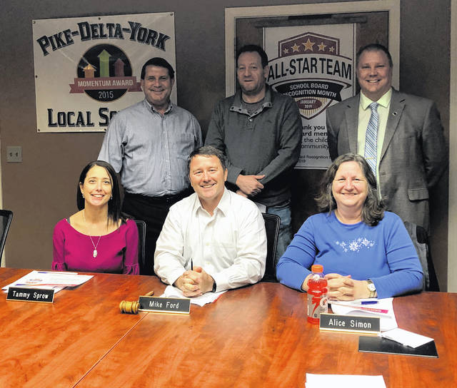 In observance of School Board Recognition Month, Superintendent Ted Haselman recognized the P-D-Y Board of Education of their duties for the district. Picutre, from left, are, Front: Tammy Sprow, President Mike Ford, Vice President Alice Simon. Back: Treasurer Matt Feasel, Chad Hoffman, and Haselman. Mike Mattin was not in attendance.
